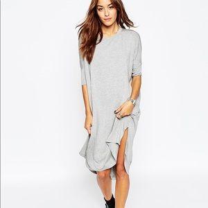ASOS grey midi t shirt dress